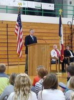 Mr. Grady Warner presents at the Veteran's Day Program.