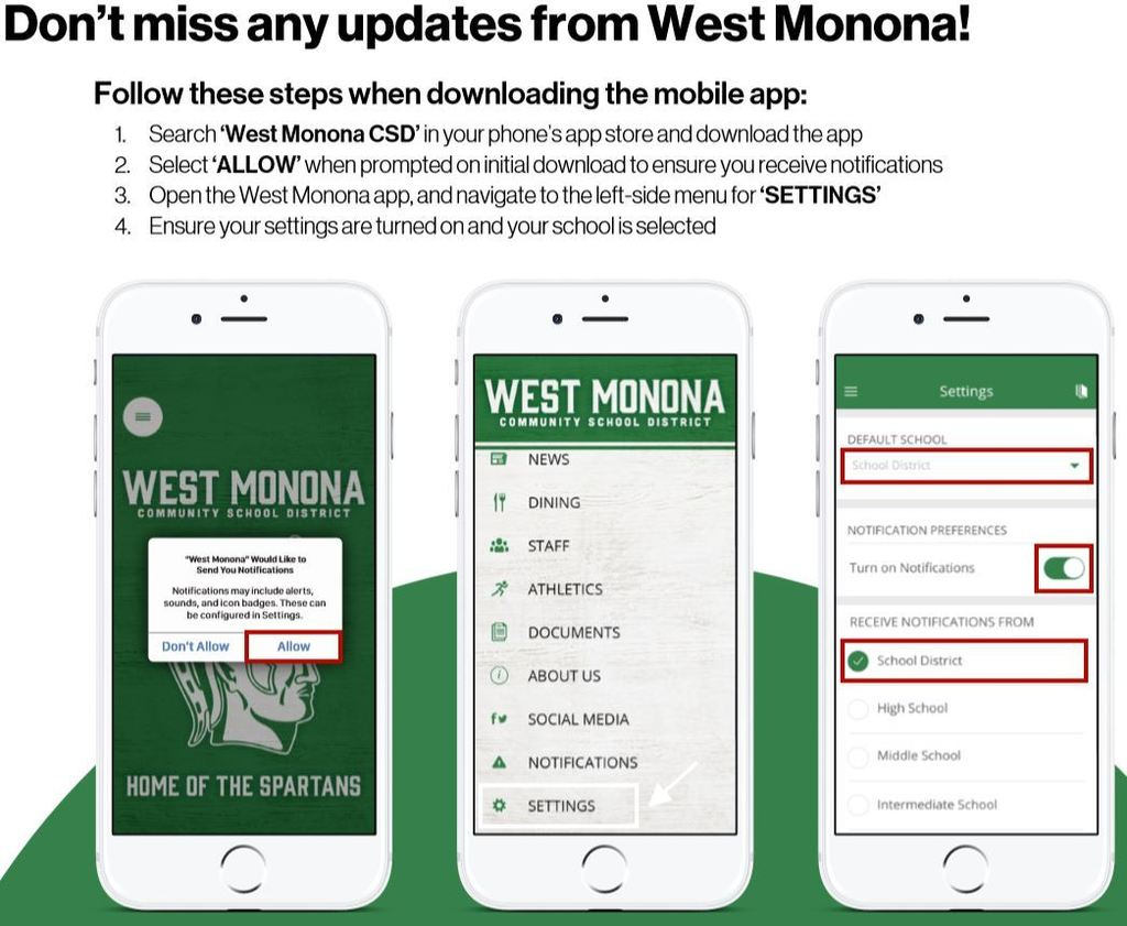 West Monona App Directions