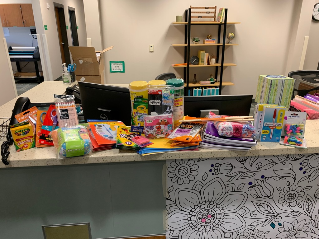 These school supplies were donated by the Hoffman Agency in Onawa