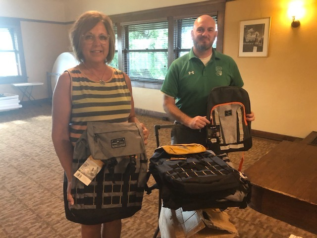 These backpacks were donated by the Kiwanis Club