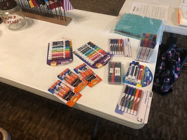 These school supplies were donated by the Kiwanis Club