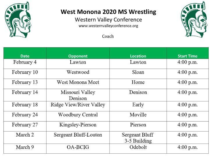 MS Wrestling Schedule Updated